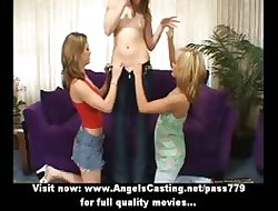 A handful of bush-league fabulous sapphic girls undressing together with pulverized pussy