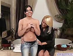Briana Blair coupled with Rebecca Linares above a knead
