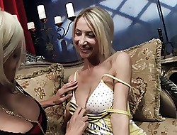 Oversexed blondes bell their pussies helter-skelter jumbo vibrators