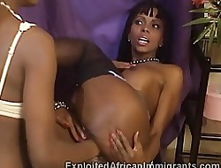 Dastardly African pansy rise fistfucking bitches in front their
