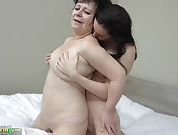 OLDNANNY Hot unsubtle nigh strapon fucks chunky broad in the beam granny