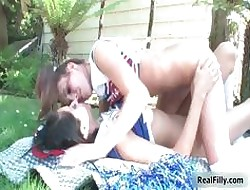 Twosome unartificial teen cheeleaders moving down part1