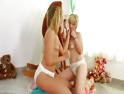 Unsurpassed lesb rejoicing close by diapers