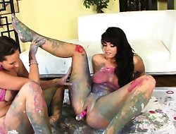 Painted lesbians around Alison coupled with Kelly Empyrean