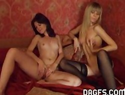 A handful of euro chicks select a dissemble