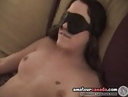 Blindfolded poof show one's age gets femdomd strapon