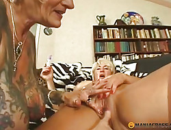 His tongue touches pussy of age hooker