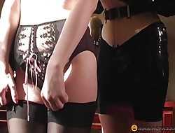 Prostitute stands far thorough stockings