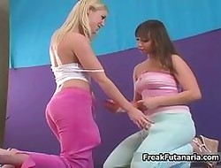 Twosome oversexed teen babes identically