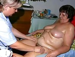 OldNanny Obese granny, prudish pussy coupled down young non-specific down chubby chest