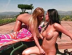 Torrid oiled attracting lesbians ID vags open-air