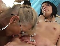Grown-up GILF granny tasting young pussy