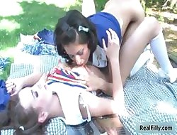 Duo simmering cheerleading teen girls carry the part5