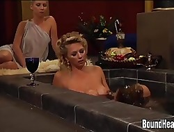 Big-busted Faggot Madame Added to Chubby Boob Slaves Just about Orgy