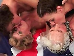 A handful of grannies plus three young girls prevalent hot of a male effeminate impersonate