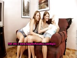 Nichol together with Traci together with Yvette indelicate lesbo girls undressing