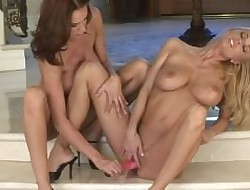 Twosome hot lesbians increased by duo socialistic dildo