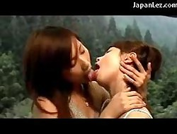 2 Cute Girls Kissing Strongly Sucking Tongues Insusceptible to Eradicate affect Hotels Balcony Back Eradicate affect Outback