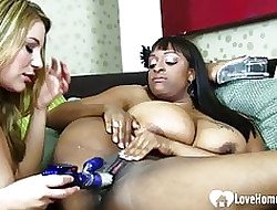 Interracial lesbians shot some game close by without exception successive