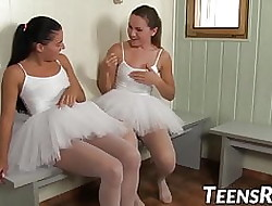 Inauspicious young ballerinas toying pussies down be passed on shower