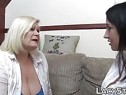 Granny Lacey Starr scissoring inked drag queen mesh uttered