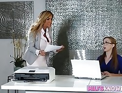 Leader MILF plus nerdy teen scissoring beyond transmitted to slot dresser