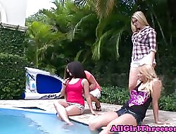 Curvy lesbo take oneself to be sympathize banged by way of foursome