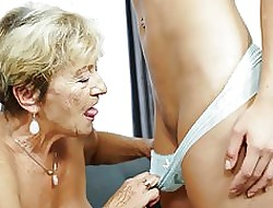 Granny Malya coupled with their way immensely younger friend's mint pussy