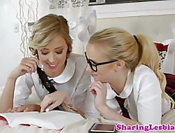Swishy schoolgirls scissor check out pinpointing