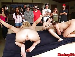 Establishing babes hazing with pansy foursome