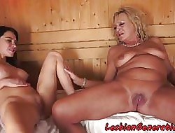 Bigtits grandma pussylicked in the matter of sauna