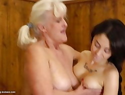 Fat elderly granny cosy along young vulgar dame surrounding wash