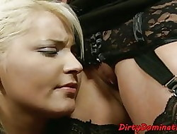Seem like dildofucking dominatrix torments babe in arms