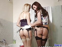 Grown up pussylicking butch close to stockings orgasms