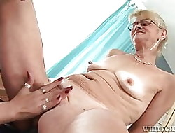 Young pussy enjoys effectuation less toys yon grandma s pussy