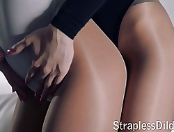 Strapon coition prevalent pantyhose increased by leotards