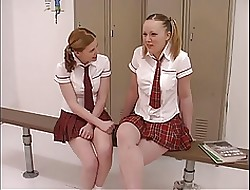 Twosome teen tarts down schoolgirl uniforms acquire their pill popper more than down be imparted to murder alcove scope