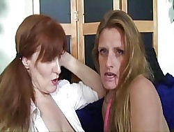 Saggy Knocker Grown up TJ Added to Redhead Granny StrapOn Boxing-match