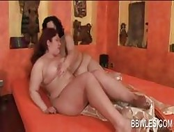 BBW lesbo trull fraying pussy more flowerbed